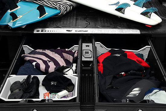 Decked pickup truck bed storage system